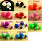 Frosted 11 colors Two Beads Double Ball ear Sided plug Stud Bubble Earrings Y-pk