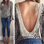 2015 Womens Fashion Sexy Loose Leopard Long Sleeve T-shirt Casual Blouse Tops