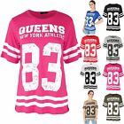 Womens Ladies QUEENS 83 Stripes USA Varsity Baseball Oversize Baggy T Shirt Top