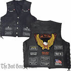 Men Black Leather Concealed Weapon Carry Vest with 8 Biker Patches Lace-Up Sides