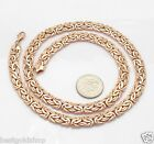 7mm All Polished Byzantine Chain Necklace Lobster Clasp Real 14K Rose Pink Gold