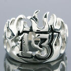 Silver Stainless Steel Flame Lucky Fortune No.13 Thriteen Unisex Men Finger Ring