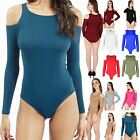 Womens Ladies Long Sleeve Cold Cut Out Shoulder Strapless Leotard Bodysuit Tops