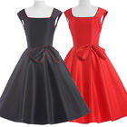 VINTAGE STYLE 50'S 60'S SWING BLACK/RED ROCKABILLY PINUP EVENING PARTY DRESS