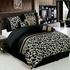 Black and Gold with Dark Sage Leafs 11-Piece Comforter Set