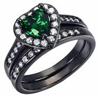 Women's Sterling Silver Created Emerald AAA Nice Wedding Ring band Set Size 5-10