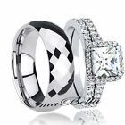 Brilliant Hers 925 Sterling Silver His Tungsten Sale Wedding Ring Band Set