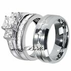 His Tungsten Hers Sale Sterling Silver Princess Cut CZ Wedding Ring Band Set