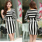 New Women White&Black Striped Bodycon Wiggle Pencil Mini Party Summer Dress 720