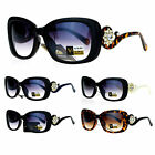 VG Eyewear Rhinestone Floral Jewel Rectangular Plastic Fashion Sunglasses
