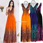 New Women Lady Bohemian Peacock Hawaiian V-neck Long Beach Maxi Sundress Dress