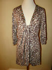CABI BROWN WHITE GEM ACCENT TIE WRAP LONG BLOUSE TOP SIZE M