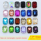 20pc 13x18mm sew on faceted rectangle crystal foiled rhinestones diy jewels Y-pk
