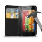 Motorola Moto G,G4,X,E Nexus 6 PU Leather Wallet Case & Tempered Glass Protector
