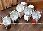 Golden Case The Earth & World Map Pattern Colors Leather Band Quartz Wrist Watch