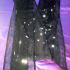 Black Sequin & Sheer Sash Band Belt Dark Stretch Goth Halloween Sexy Sparkles