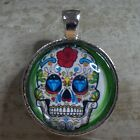 ROUND GLASS TILE PENDANT/SUGAR SKULL/MEXICAN DAY OF THE DEAD/GREEN/DIAMOND EYES