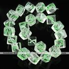 1Strand Multicolor Square Cube Crystal Glass Loose Bead Charms DIY Jewelry Gift