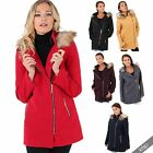 Women Detachable Fur Hood High Neck Woollen Short Coat Zipper Jacket Winter Warm