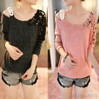 Korean Fashion Womens Casual Long Sleeve Shirts Tops Blouse Knitted 4 Colors