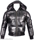 PILOT PUFFER Men's Black Hooded Bomber Premium Italian Quilted Leather Jacket