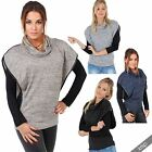 Women 2 in 1 Zip Shoulder Marl Knit Loose Jumper Polo Cawl Neck Sweater Top Warm
