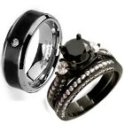 Hers Sterling Silver Three Stone His Black Titanium Engagement Wedding Ring Set