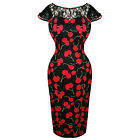 Hearts & Roses London Black Red Cherry Vintage Retro 1950s Fitted Pencil Dress