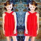 Baby Kids Girls Party Dress Bowknot Lace Pleated Skirt Summer Sundress 2-10Y