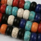 5x Red/Blue Howlite Turquoise Loose Gemstone Big Hole Beads For Bracelet Diy