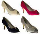 Ladies Bridesmaids Shoes Low Mid Kitten Heels Court Shoes Bridal Wedding Pumps