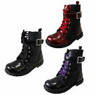 Chatterbox Girls Rae Black Red Purple Patent Biker Ankle Zip Lace Combat  Boots