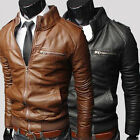 Mens New Faux Leather Jackets Biker Fashion Zip Motorcycle Collar Coat Outwear