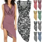 Womens Party Dresses Ladies Drape Cowl Neck Side Slant Stretchy Sleeveless Dress