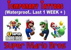 TEMPORARY TATTOO kids SUPER MARIO BROTHERS party LAST 1 WEEK loot bag X32 X16