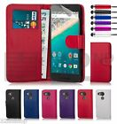 32nd Book Wallet PU Leather Flip Case Cover for Google Nexus Phones + Stylus