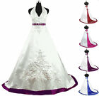 Custom Decent A-Line Wedding Dresses Embroidery Satin Bridal Gowns Size2-8-16-24