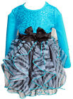 BNWT Beautees Girl Princess Holiday Leopard Blue Sequin Mesh TUTU Dress~4T To 6X