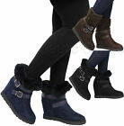 Ladies Women High Wedge Heel Calf Ankle Collar Fur Lined Winter Boots Shoes Size
