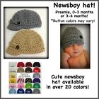 Newsboy hat, newsgirl hat newborn 0-3 Month 3-6 Month, Preemie, Photo Prop, Baby