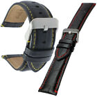 Black Padded Calf Leather Alligator Grain Watch Strap Contrasting Stitching