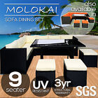 9 Seater PE Wicker Outdoor Dining Setting Lounge Sofa Chairs Table Set Furniture