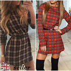 UK Womens Valentine Casual Tartan Check Party Shirt Mini Dress Ladies Long Tops