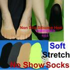 Womens Ladies Girls Shoe Liners Footless Socks Invisible Silicone Non Slip