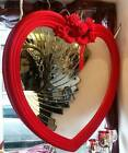 """Very Large Heart Shaped Mirror 38""""x35""""Red & Pink flocked and feel like velvet"""