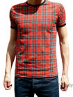 MENS Tartan tee band t-shirt indie mod punk vtg Retro NEW 80's 70's Red