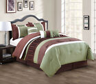 11 Piece Sage/Coffee/White Bed in a Bag Set