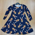 Ladies Girls Christmas Reindeer  Dress Kids Mother Daughter Dresses Xmas Navy
