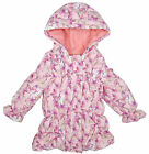 Girls Chainstore Baby Butterfly Print Hooded Lined Winter Coat Newborn - 3 Years