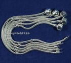 Hot!5pcs silver plated snake chain fit for European bead/charm bracelets 16-23cm